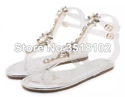 a5bcaea77fb2b7 ... Thong Rhinestones Woman Gladiator Shoes Flops Crystal 43 Chains Women  Sandals Sandals 2018 Flat Sandals Flip