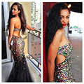 Estilo do verão colorido pedrinhas mermaid prom dress 2017 sexy backless evening dress strapless mulheres formal dress vestidos