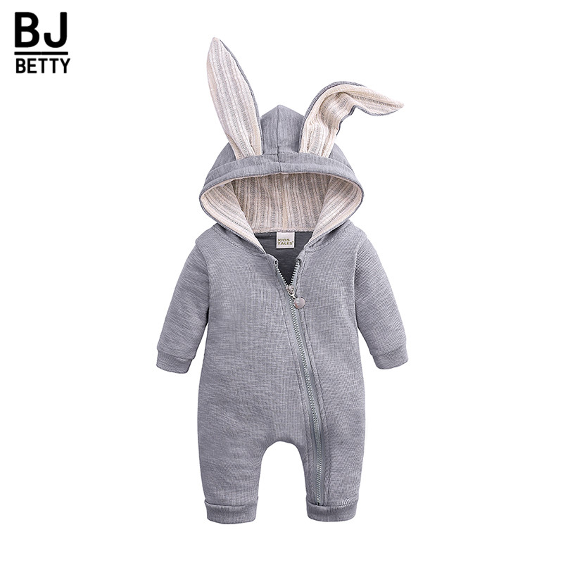 Newborn Infant Baby Girl Boy Clothes Cute 3D Bunny Ear   Romper   Jumpsuit Playsuit Autumn Winter Baby   Rompers   One Piece BBR218