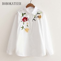 BOBOKATEER Embroidery Long Sleeve White Loose Women Blouse Shirt Blusas Blusa Tops Blouses Women Blusas Feminina