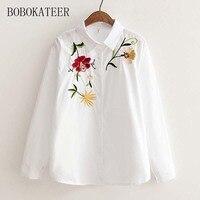 BOBOKATEER Embroidery Long Sleeve White Loose Women Blouse Shirt Blusas Blusa Tops Blouses Women Blusas Feminina