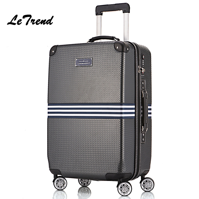 Letrend Vintage Suitcase Rolling Luggage Spinner Wheel Men Trolley Case Travel Bag Creative Carry on Luggage Women Fashion Trunk 14 20 24 inch women vintage rolling luggage sets pu travel suitcases universal wheel spinner trolley bags suitcase for girls bag