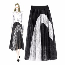 Summer elegant womens lace skirts Chic black white patchwork pleated A065
