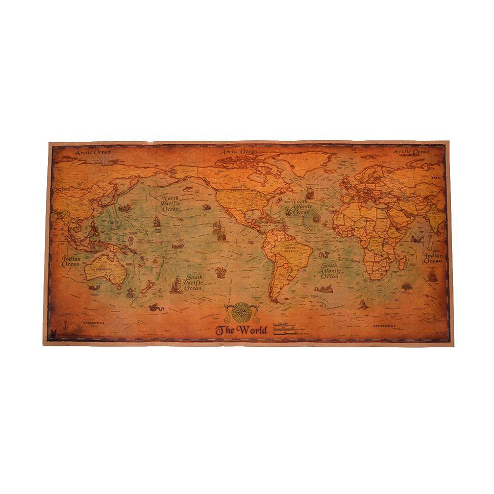 1 шт. морская карта мира в стиле ретро, старинные обои, художественная живопись, Декор для дома, наклейка, салонный плакат, кафе, антикварный п...
