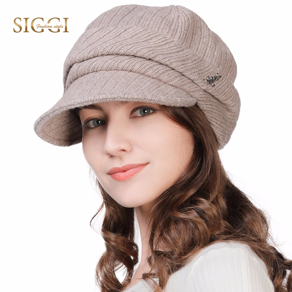 e83e01db340 FANCET Wool Newsboy Caps For Women Soft Lined Knitted Visor Beanies Winter  Hats Cotton Adjustable Soft
