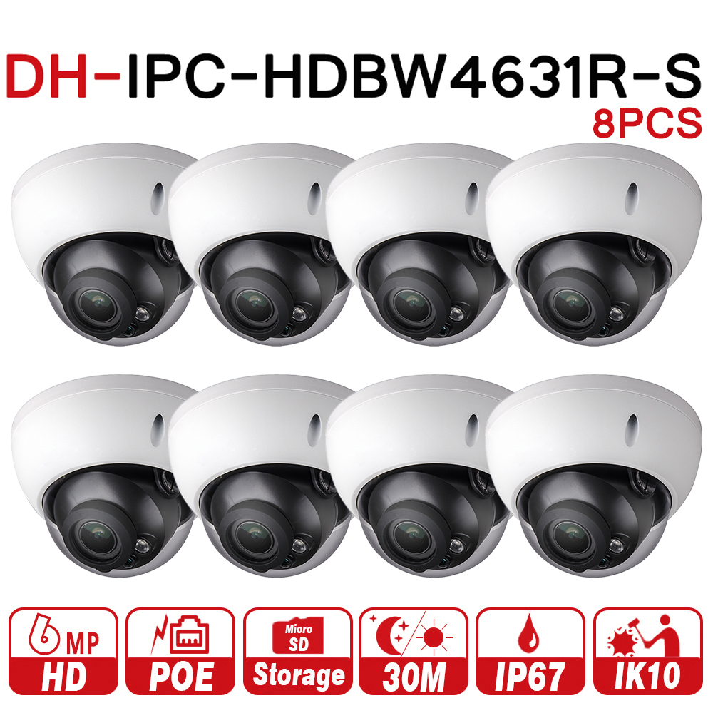 DH Security IP Camera IPC-HDBW4631R-S 8Pcs/lot Upgrade From IPC-HDBW4431R-S 6MP POE SD Card Slot Security CCTV Camera IK10 dahua h 265 ip camera ipc hdbw4631r s replace ipc hdbw4431r s 6mp poe cctv camera 30m ir 1080p network camera onvif sd card slot