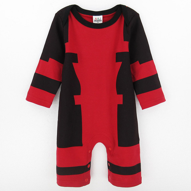 1ca469462c96 Baby Boys Deadpool Costume Romper Infant Outfit Newborn Long Sleeve Party  Playsuits Toddler Overall For Newborn Christmas Gift