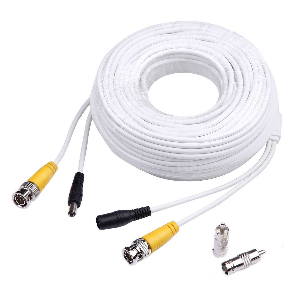 MOOL 100ft Video Power Cables BNC RCA Security Camera Extension White Wires Cords for CCTV DVR Surveillance System bnc м клемма каркам