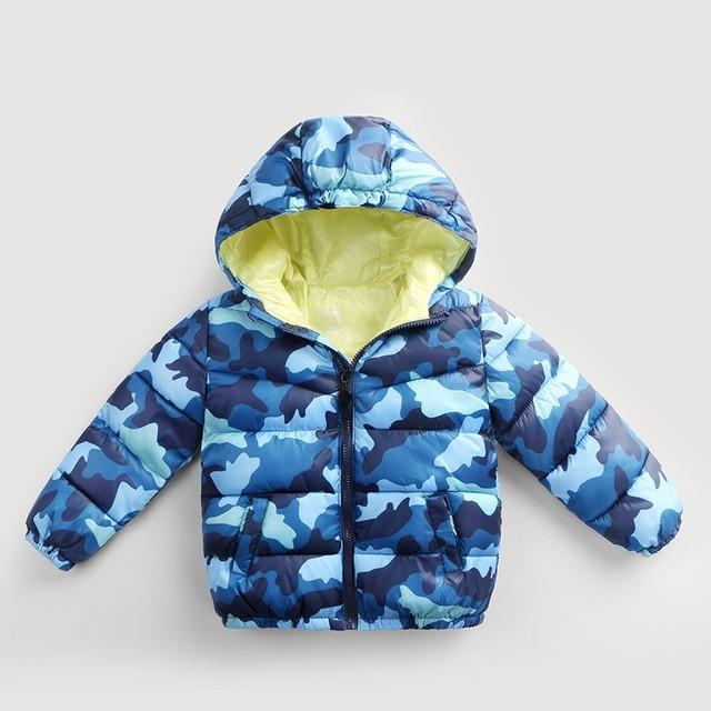 2016 otoño invierno de los niños del algodón de la cremallera de la chaqueta chicos camuflaje parkas pato abajo abrigos para niños con capucha tops para 3-8 años