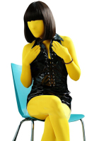 (FZS073) Sexy Lycra Spandex Fetish Zentai Bodysuit Female/Male Halloween Make Up Yellow Costumes