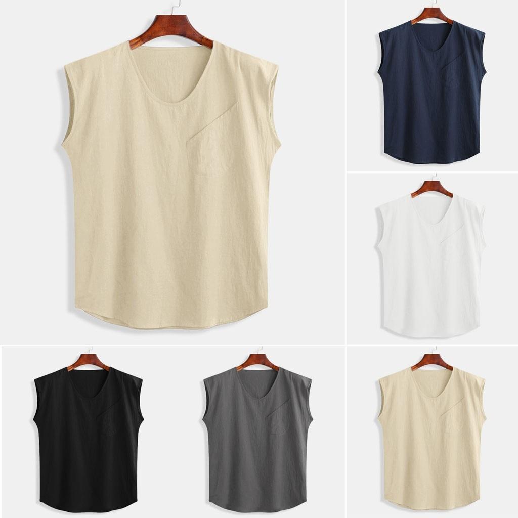 Men's Baggy Cotton Linen Solid Pocket Sleeveless O-Neck Vest   Tank     Tops   Blouses M-3XL five colors