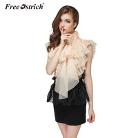 Free Ostrich Blouse 2018 Lady Summer Nice Sweet Vintage Girl Ladies Royal Court Princess Bow Design