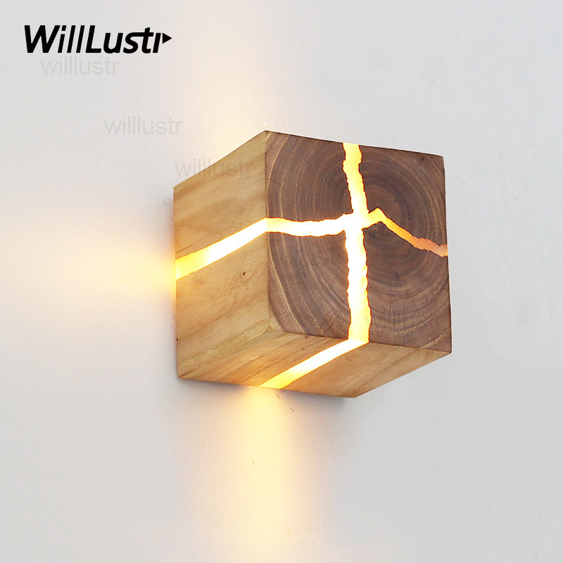 Natural cracked Wood Wall Sconce crack wood wall lamp