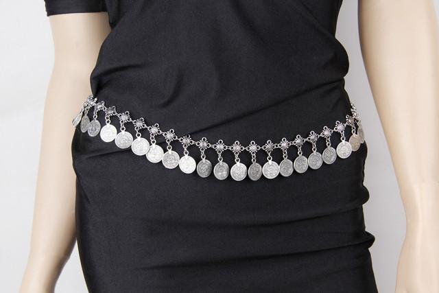 Vintage Chic Gypsy Silver Metal Dangle Sexy Boho Flower Turkish Bohemian Shimmy Belt Dance Body Chain Jewelry Coin Tassel Belly