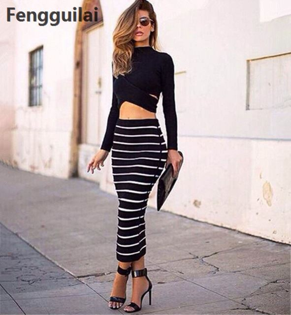 4ea5fa326b132 New Fashion 2 Piece Set Women Crop Top And Skirt Set Cross Crop Top And  Striped
