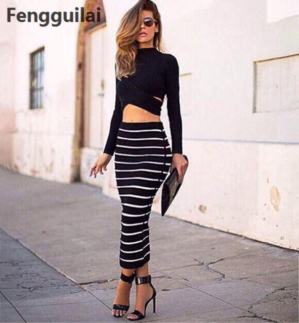 New Fashion 2 Piece Set Women Crop Top And Skirt Set Cross Crop Top And Striped Pencil Skirt Long Maxi Skirt Set Cropped