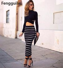 New Fashion 2 Piece Set Women Crop Top And Skirt Cross Striped Pencil Long Maxi Cropped