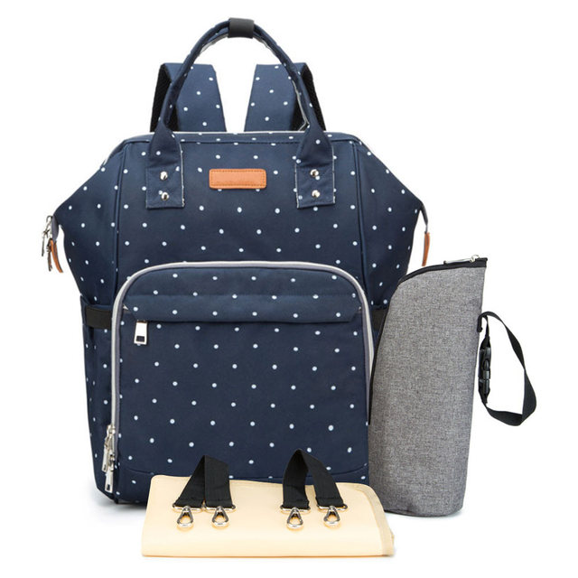 Diaper Bag for Baby Care Travel Backpack – dotted navy blue