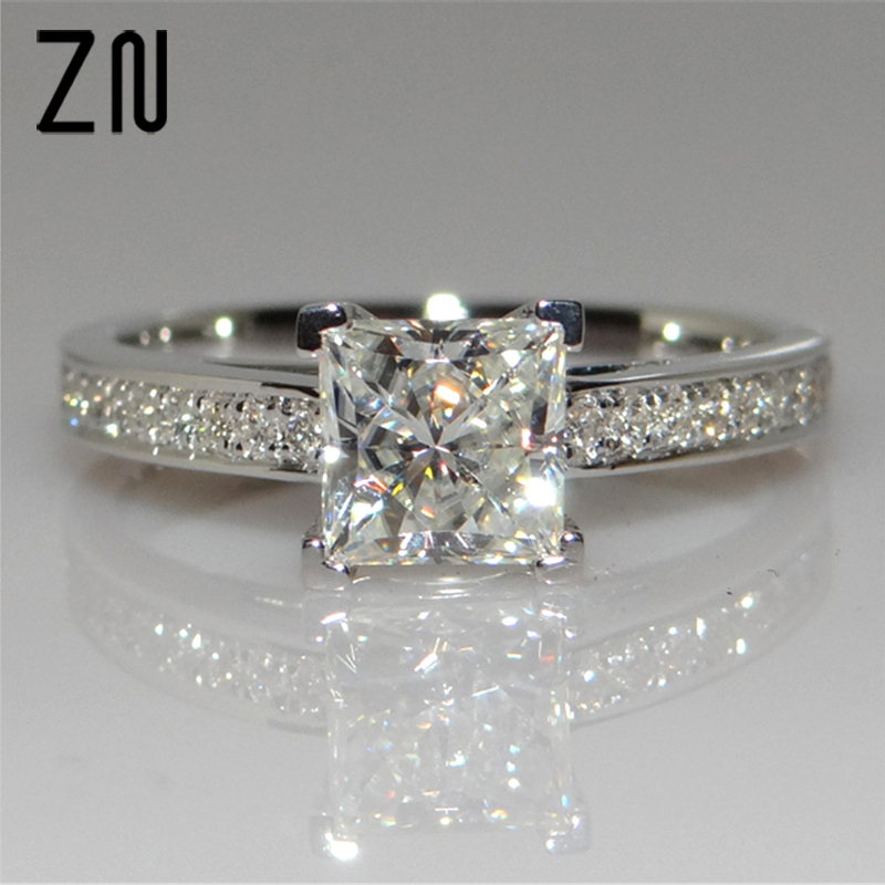 ZN Classical Cubic Zirconia Forever Wedding Rings Rose Gold Color Solitaire Rhinestones  ...
