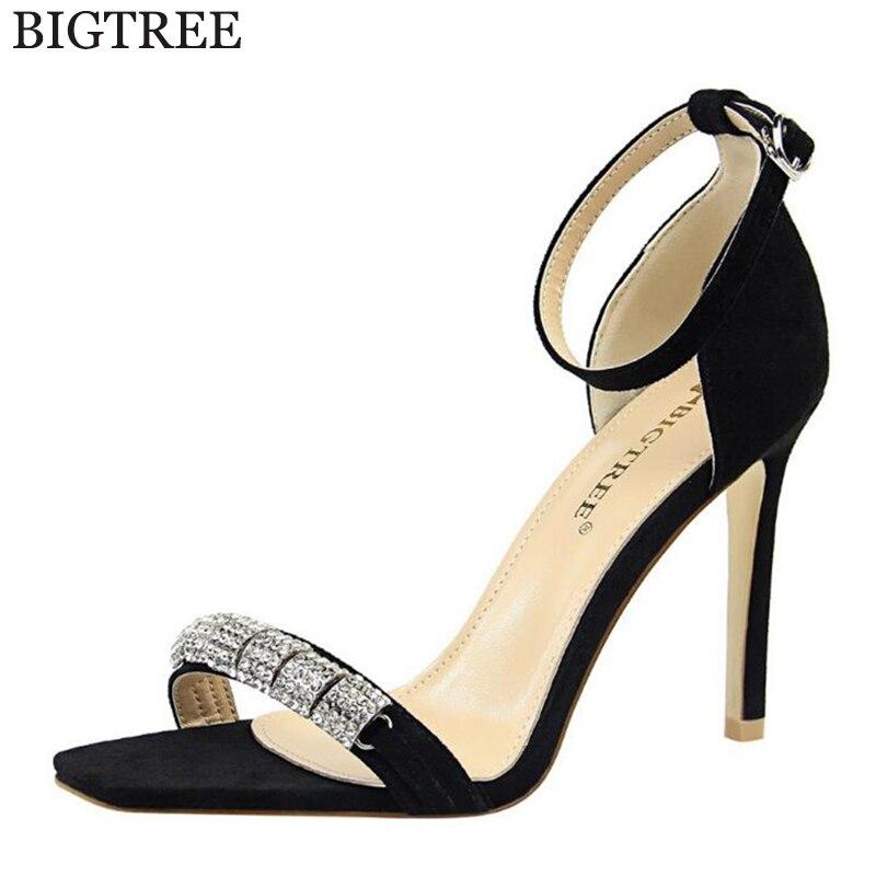 2018 new Brand Elegant sandals Women High Heels Pumps Super high heel Womens Banquet sandals waterproof Rhinestone sandals c72