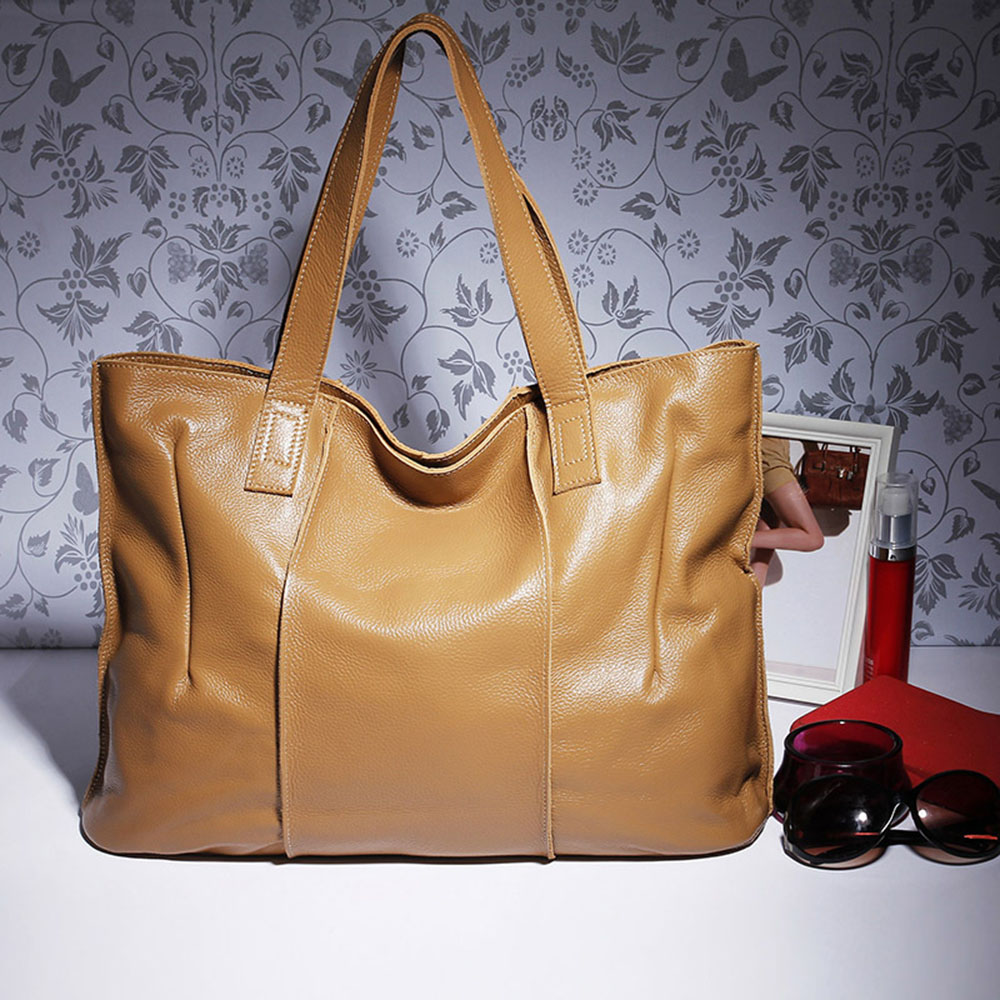 Image 4 - Zency 100% Genuine Leather Handbag Large Capacity Women Shoulder Bag Retro Tote Purse High Quality Hobos Brown Shopping Bags-in Shoulder Bags from Luggage & Bags
