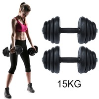 15KG Barbell Body Muscle Arm Builder Gym Exercise Workout Trainning Fitness Weight Loss Bar Dumbbell Set With Carry Case