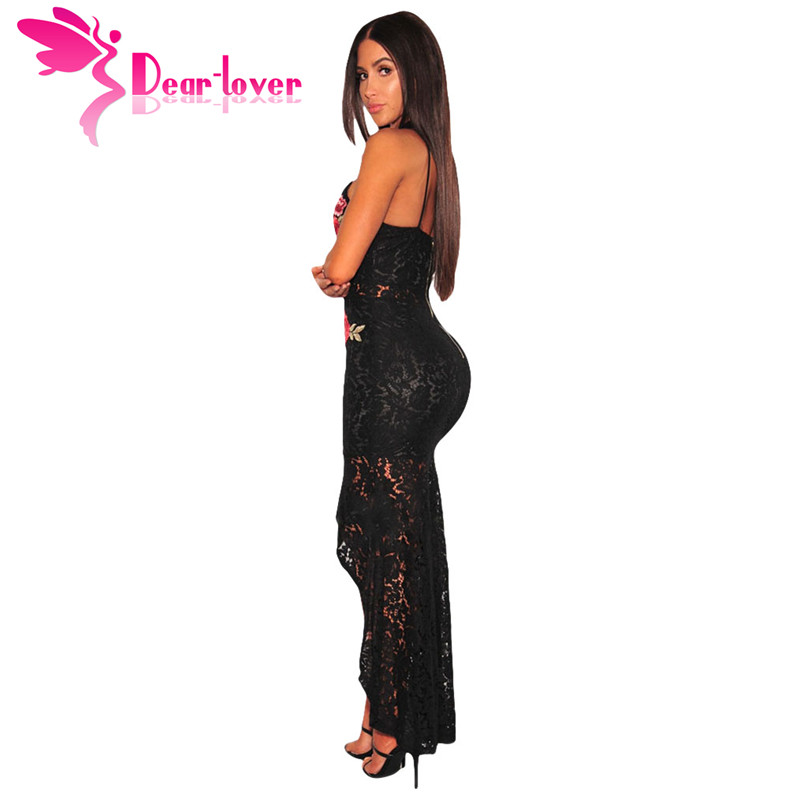 847599d3ece7 Dear Lover Women Maxi Dresses Summer Night Party Vestidos Mujer Black Spaghetti  Strap Floral Lace Choker High Low Dress LC61667-in Dresses from Women s ...