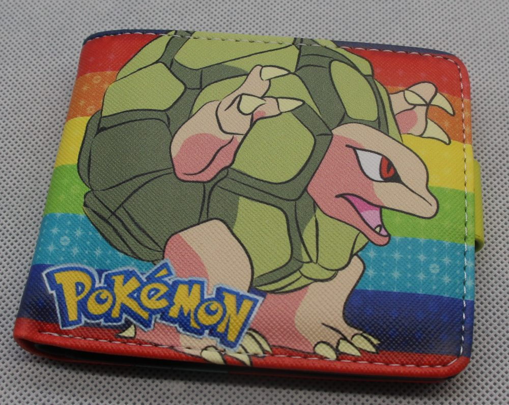 Anime Pokemon GO Squirtle Bifold Wallet Cosplay PU Leather Short Purse Photo Card Holder Studend Wallets Colorful japan anime pocket monster pokemon pikachu cosplay wallet men women short purse leather pu coin card holder bag