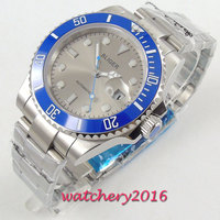 40mm Bliger Gray Dial Rotating Ceramic Bezel Sapphire Glass Luminous Deployment Luxury Brand Automatic movement men's Watch