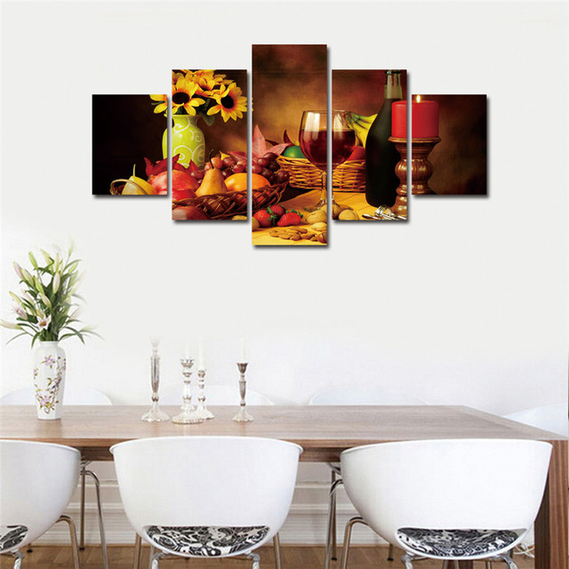 Flower And Wine Wall Pictures For Living Room Modern 5 Piece Romantic Dinner Cuadros Lienzos Decorativos