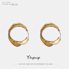 Yhpup Trendy Korean Brand Geometric Hoop Earrings Zinc Alloy Gold Silver Vintage Punk Brincos for Women Party Jewelry Gift New(China)