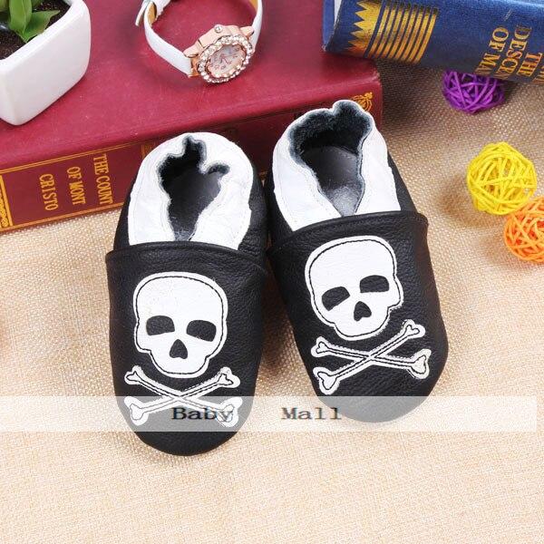 Bebé suaves del cuero genuino zapatos de bebé ocasionales patrón cabeza del crán