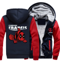 USA size Men Women Deadpool Fish Zipper Jacket Sweatshirts Thicken Hoodie Coat Clothing Casual