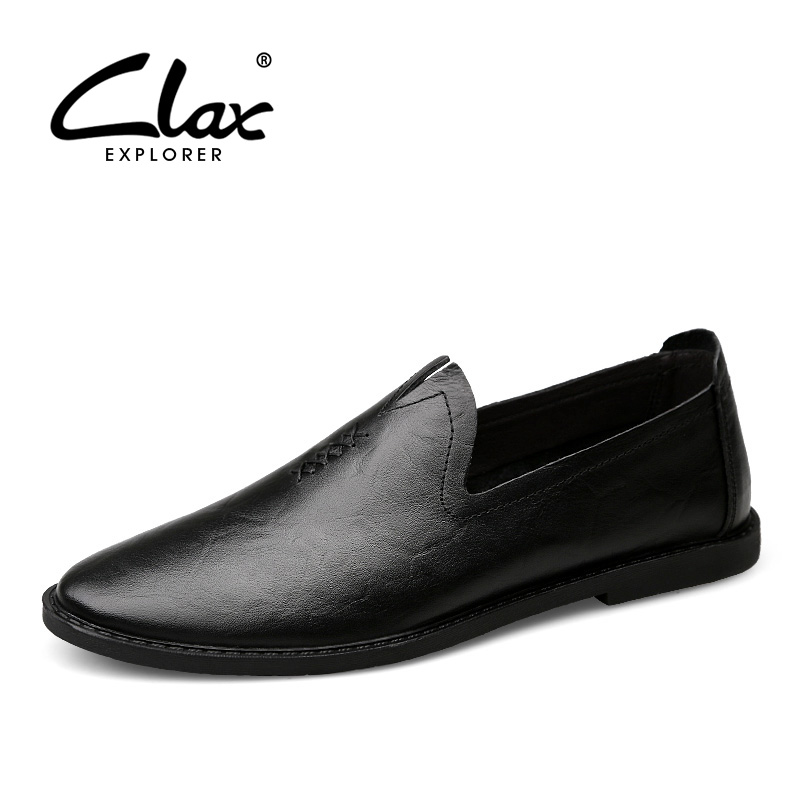 Clax Men Casual Leather Shoes 2017 Spring Summer Designer Flats Footwear for Male Loafers Classic Black Dress Shoe male casual shoes soft footwear classic men working shoes flats good quality outdoor walking shoes aa20135