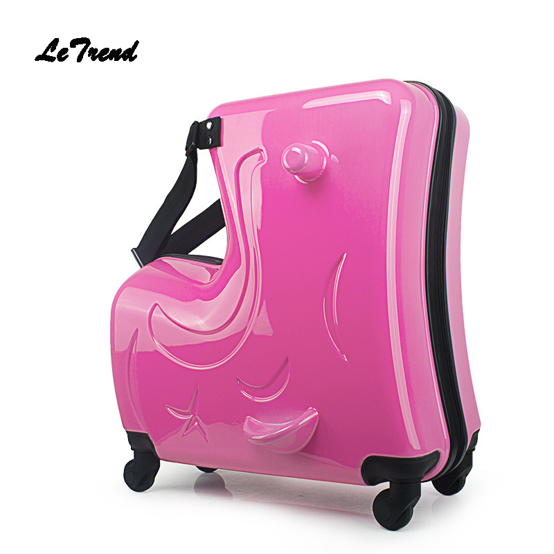 Letrend Children Rolling Luggage Spinner 20 inch Wheels Suitcase Kids Cabin Trolley Student Travel Bag Cute
