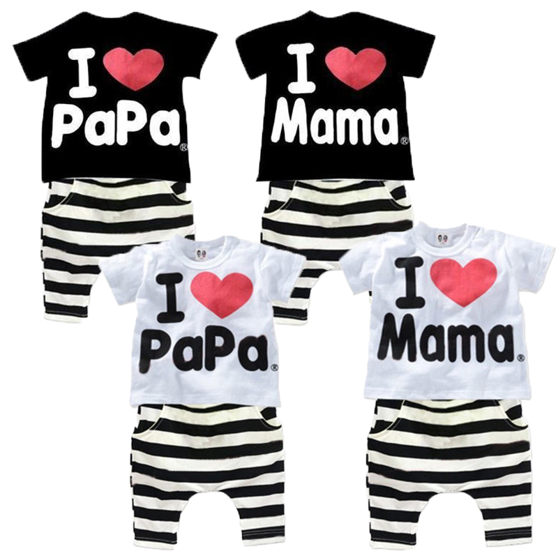 Children Kids Summer Suit Clothes Set Infant Baby Boys Girls I Love Papa Mama T Shirt Striped Halen Pants Clothing Sets For 1-4Y
