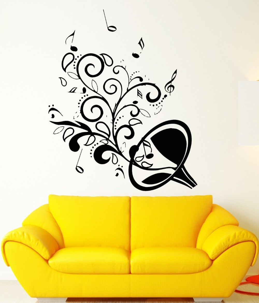 2016 Saxophone Wall Stickers Musical Instrument Decals Vinyl Diy Music Note Wallpaper For Bedroom Living Room