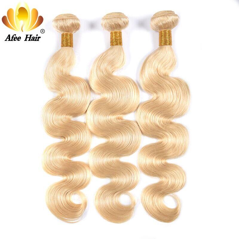 Aliafee Hair 613 color Brazilian body wave Remy Hair Weave 3 Bundles Deal Blonde Hair 100