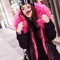 2016 Novas Mulheres Da Moda Exército Verde Jacket Casacos Quentes Parkas Grossas de Inverno Gola De Pele Com Capuz Outwear Plus Size E347