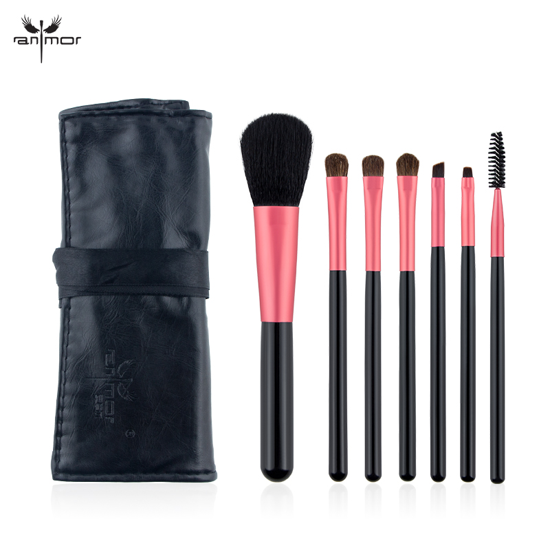 Anmor Portable 7 PCS Makeup Brush Set Mini Make Up brushes High Quality Synthetic Makeup Brushes with Bag FH07 anmor make up brushes professional powder duo fibre eyeshadow makeup tool synthetic makeup brushes set with black bag