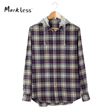 Markless Случайные Хлопка мужские Рубашки С Длинными рукавами С Капюшоном Можно Удалить Решетки Pattern Мужчины Рубашка(China (Mainland))