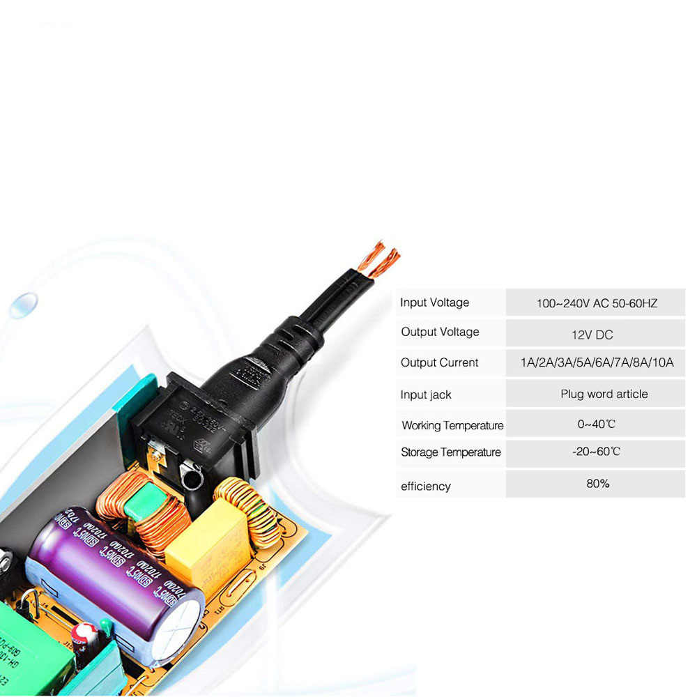 12V 1A 2A 3A 5A 6A 7A 8A 10A LED Netzteil AC110-240V UK/US/EU/AU Adapter Stecker Für 2811 5050 3528 LED Streifen Licht