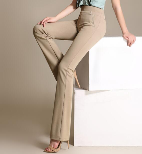 Flare Pants Women Plus Size 4 Solid Colour Black White
