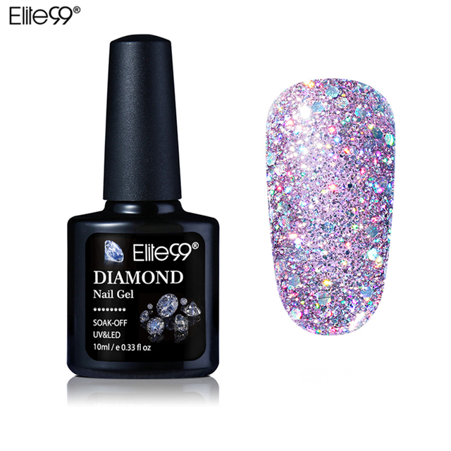 Elite99 10 ml Diamante Unhas de Gel Glitter Gel UV LEVOU Manicure Brilhante Lantejoulas Embeber Off Gel Unha Polonês Vernis Semi permanente Gellak