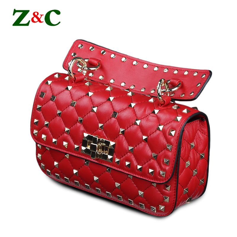 Women Rivets Chain Shoulder Bag Diamond Lattice Sheepskin Leather Women Crossbody Bag High Quality Designer Purses and Handbag