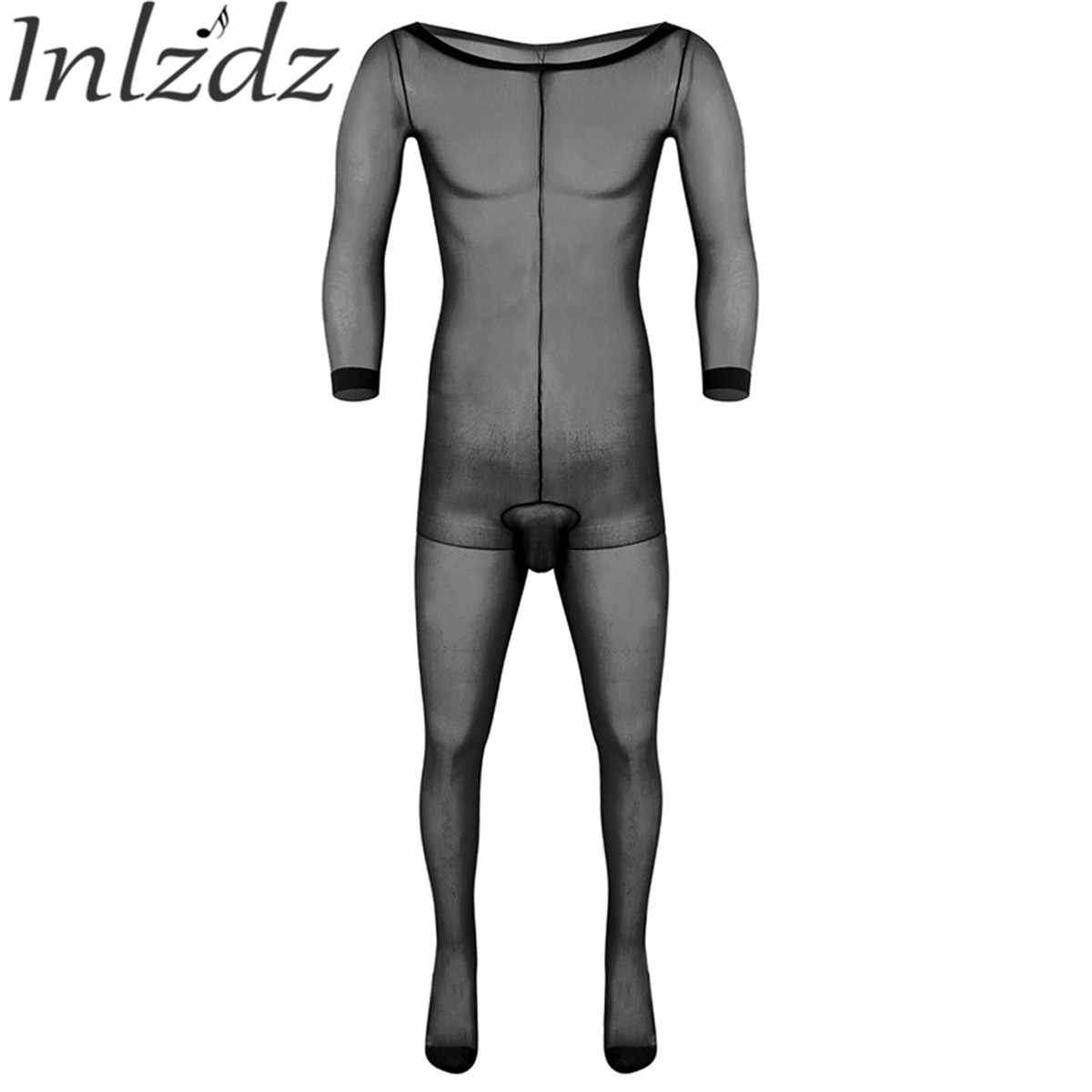 Pantyhose For Men Stockings Adult Skinny Long Sleeves Lingerie Ultra-thin Bodysuit for Male Underwear Pantyhose Bodystocking
