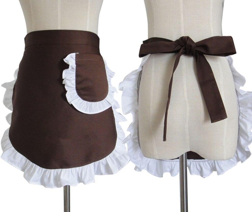 White pinafore apron costume - Women Apron White Ruffle Waist Half Pinafore Restaurant Chef Bib Waiter Cuisine Delantal Work Shop Cafe