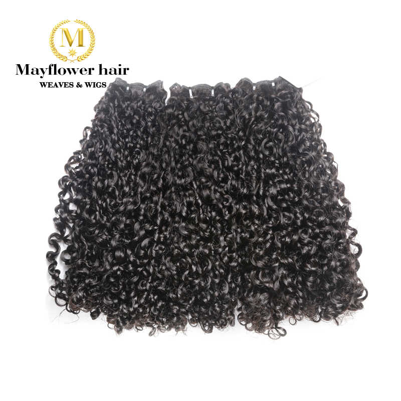 "Mayflower Double drawn Remy Hair products Funmi hair Tiny curl 1/2/3 /4 bundles from 10-20"" Pixel curl Natural black can be dye"