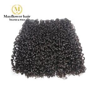 Продукты для волос Mayflower Remy с двойным нарисованным ворсом, маленькие завитки волос 1/2/3/4 пучка от 10-20