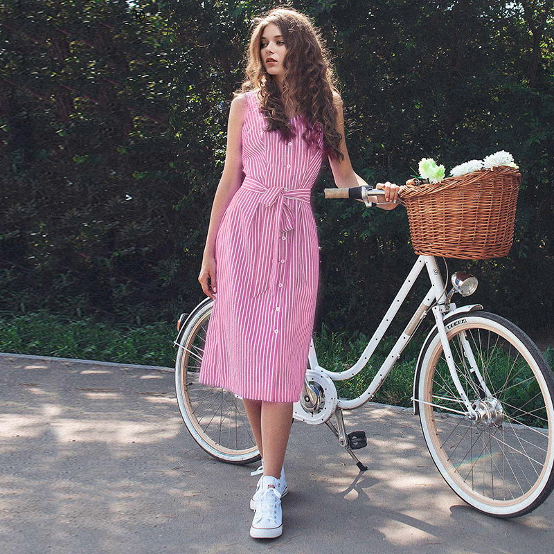 2018 Women Striped Dress Sleeveless Belted Straight Mid-Calf Square Collar Summer Women Dresses Vestidos